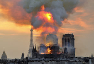 Notre Dame on fire